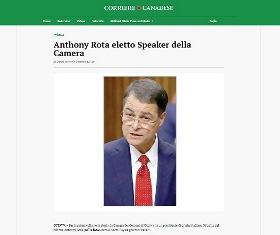 ANTHONY ROTA ELETTO SPEAKER DELLA CAMERA - di Giorgio Mitolo