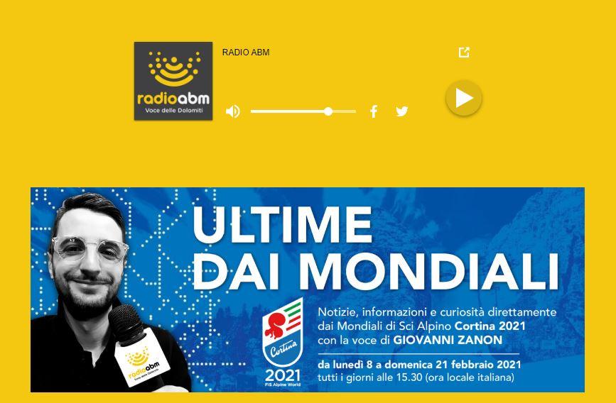 Cortina 2021: nuova trasmissione radio dell'Abm dedicata ai Mondiali di Sci Alpino