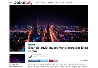 BILANCIO 2020: INVESTIMENTI EXTRA PER EXPO DUBAI
