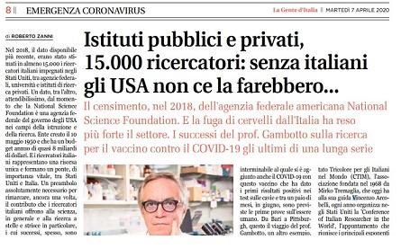 ISTITUTI PUBBLICI E PRIVATI, 15.000 RICERCATORI: SENZA ITALIANI GLI USA NON CE LA FAREBBERO...- di Roberto Zanni