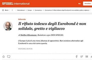 SPIEGEL: IL RIFIUTO TEDESCO DEGLI EUROBOND GRETTO E VIGLIACCO