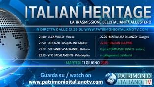 ITALIAN HERITAGE: DOMANI LA NUOVA PUNTATA SU PATRIMONIO ITALIANO TV