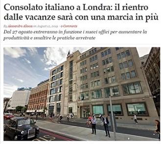 CONSOLATO ITALIANO DI LONDRA: IL RIENTRO DALLE VACANZE SARÀ CON UNA MARCIA IN PIÙ – di Alessandro Allocca