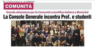 MONTREAL: LA CONSOLE GENERALE INCONTRA PROF E STUDENTI – di Vittorio Giordano