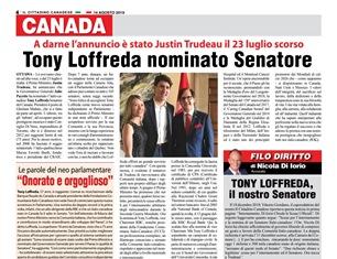TONY LOFFREDA NOMINATO SENATORE – di Vittorio Giordano