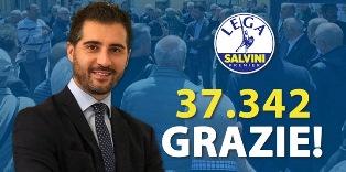 EUROPEE: CON 37MILA VOTI PAOLO BORCHIA (LEGA NEL MONDO) VOLA AL PARLAMENTO EUROPEO