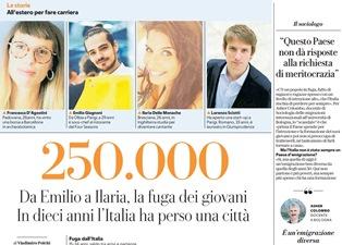 250.000: DA EMILIO A ILARIA, LA FUGA DEI GIOVANI/ IN 10 ANNI L'ITALIA HA PERSO UNA CITTÀ - di Vladimiro Polchi