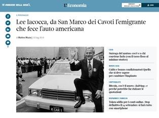 LEE IACOCCA: DA SAN MARCO DEI CAVOTI L'EMIGRANTE CHE FECE L'AUTO AMERICANA – di Matteo Muzio