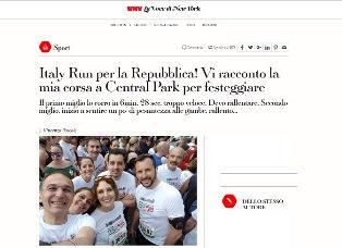 ITALY RUN PER LA REPUBBLICA: VI RACCONTO LA MIA CORSA A CENTRAL PARK PER FESTEGGIARE – di Vincenzo Pascale