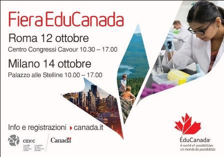 "STUDIARE IN CANADA: TORNA ""EDUCANADA"" 2017"
