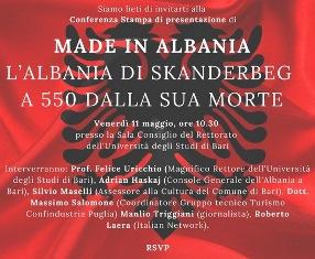 """""""MADE IN ALBANIA. L'ALBANIA DI SKANDERBEG A 550 DALLA SUA MORTE"""": GIORNATA DI STUDI ALL"""