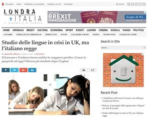 STUDIO DELLE LINGUE IN CRISI IN UK MA L'ITALIANO REGGE – di Alessandro Allocca