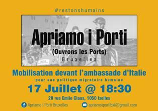"""LA CAMPAGNA """"APRIAMO I PORTI"""" ARRIVA A BRUXELLES: SIT IN DI FRONTE ALL'AMBASCIATA"""