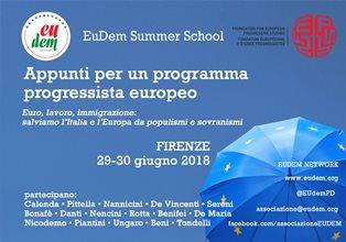 APPUNTI PER UN PROGRAMMA PROGRESSISTA EUROPEO: DA OGGI A FIRENZE LA FEPS - EUDEM SCHOOL 2018