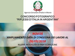 """""""RIFLESSI D'ITALIA IN ARGENTINA"""": PROROGATI I TERMINI PER PARTECIPARE AL CONCORSO DELL'AGENZIA CONSOLARE A MORON"""