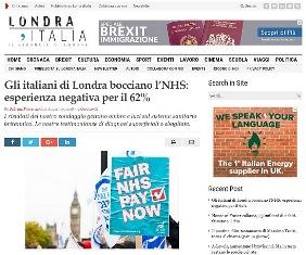 GLI ITALIANI DI LONDRA BOCCIANO L'NHS: ESPERIENZA NEGATIVA PER IL 62% - di Sabrina Provenzani