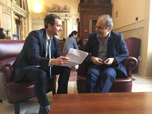 MERLO RICEVE SERGIO BADINO (DANTE ALIGHIERI DI CORDOBA) CON L'ON. BORGHESE (MAIE)