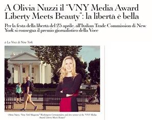 """A OLIVIA NUZZI IL """"VNY MEDIA AWARD LIBERTY MEETS BEAUTY"""": LA LIBERTÀ È BELLA"""