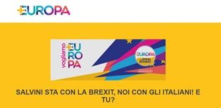 """""""SALVINI STA CON LA BREXIT, NOI CON GLI ITALIANI! E TU?"""": ONLINE LA PETIZIONE DI +EUROPA UK"""