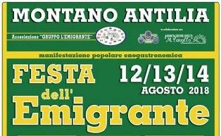 DOMANI A MONTANO ANTILIO (SALERNO) LA FESTA DELL'EMIGRANTE 2019