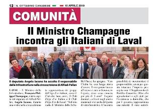 IL MINISTRO CHAMPAGNE INCONTRA GLI ITALIANI DI LAVAL