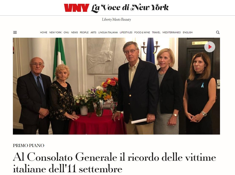 AL CONSOLATO GENERALE IL RICORDO DELLE VITTIME ITALIANE DELL'11 SETTEMBRE - di Chiara Nobis e Giulia Pozzi