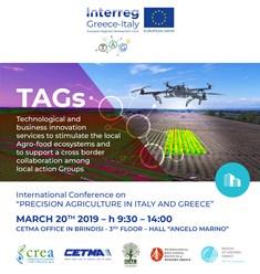 PROGETTO TAGS: L'AGRICOLTURA DI PRECISIONE IN PUGLIA E IN GRECIA