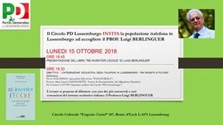 L'INTEGRAZIONE SCOLASTICA DEGLI ITALOFONI: LUIGI BERLINGUER OSPITE DEL CIRCOLO PD DEL LUSSEMBURGO