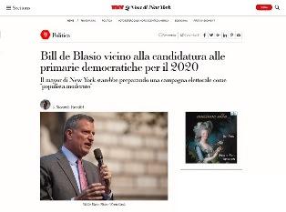 BILL DE BLASIO VICINO ALLA CANDIDATURA ALLE PRIMARIE DEMOCRATICHE PER IL 2020 – di Riccardo Paradisi