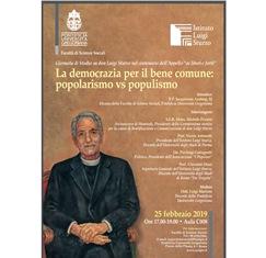 """""""LA DEMOCRAZIA PER IL BENE COMUNE: POPOLARISMO VS POPULISMO"""": GIORNATA DI STUDIO ALLA GREGORIANA DI ROMA"""