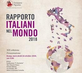 MIGRANTES: IL 24 OTTOBRE LA PRESENTAZIONE DEL RAPPORTO ITALIANI NEL MONDO