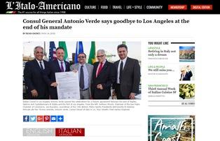IL CONSOLE GENERALE ANTONIO VERDE SALUTA LOS ANGELES ALLA FINE DEL SUO MANDATO – di Silvia Giudici