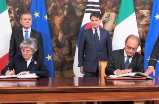 ITALIA-COREA DEL SUD: MERLO FIRMA GLI ACCORDI BILATERALI ALLA PRESENZA DEL PREMIER CONTE