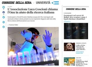 L'ASSOCIAZIONE LUCA COSCIONI CHIAMA L'ONU IN AIUTO DELLA RICERCA ITALIANA – di Francesco Sellari