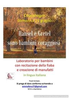 HANSEL E GRETEL: LABORATORIO IN ITALIANO PER BAMBINI A COPENAGHEN