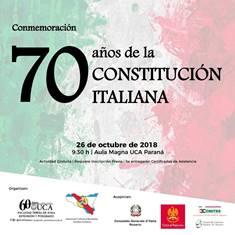 70° DELLA COSTITUZIONE ITALIANA: CONVEGNO DOMANI A PARANÀ