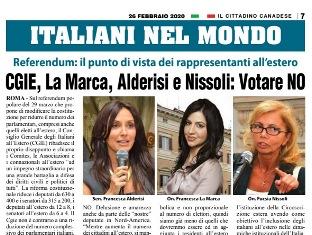CGIE, LA MARCA, ALDERISI E NISSOLI: VOTARE NO – di Vittorio Giordano