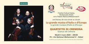"""""""LA GRANDE MUSICA D'ITALIA E D'EUROPA"""": IL QUARTETTO DI CREMONA IN CONCERTO A RABAT"""