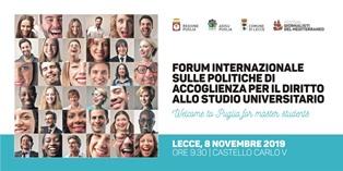 A LECCE IL FORUM INTERNAZIONALE PER IL DIRITTO ALLO STUDIO UNIVERISTARIO