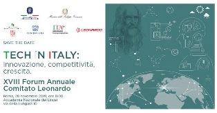 """""""TECH IN ITALY: INNOVAZIONE, COMPETITIVITÀ, CRESCITA"""": A ROMA IL XVIII FORUM ANNUALE DEL COMITATO LEONARDO"""