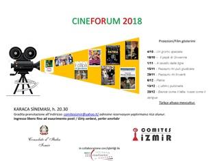 """A SMIRNE 8 APPUNTAMENTI CON IL CINEMA ITALIANO: INIZIA IL """"CINEFORUM 2018"""" PROMOSSO DA COMITES E CONSOLATO"""